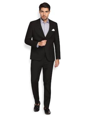 Theme Men Polyviscose Solid Black  Suit