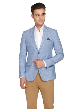 Theme Men Blue Solid Slim fit Single Breasted Blazer