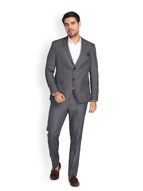 Theme Men Polyester Checked Grey  Suit