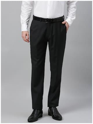 Theme Men Solid Slim Fit Formal Trouser - Black