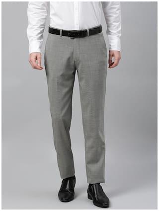 Theme Men Printed Slim Fit Formal Trouser - Black & Grey