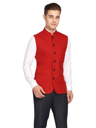 Theme Poly Viscose Solid Red Color Single Breasted Waistcoat For Men
