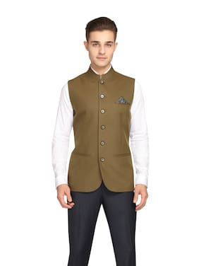 Theme Poly Viscose Solid Green Color Single Breasted Waistcoat For Men