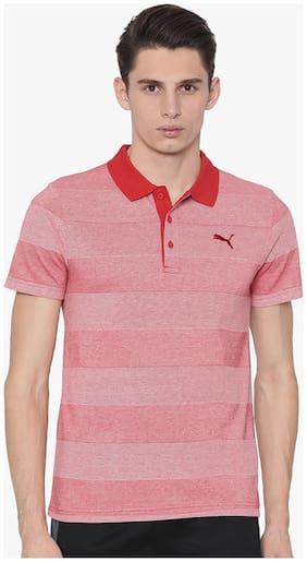 Puma Men Polo neck Sports T-Shirt - Pink