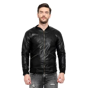 Thrill Fashion Men Black Solid Leather jacket