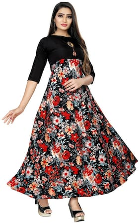 Ticknmart Latest Trendy New Arrival Fancy Women Stiched Gown Multi