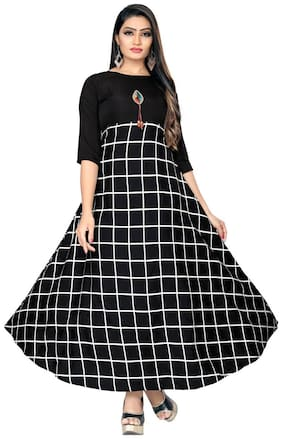 Ticknmart Latest Trendy New Arrival Fancy Women Stiched Gown Black
