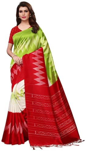 Ticknmart Women New Arrival Latest Green Mysore silk Printed Saree with Unstitch Blouse