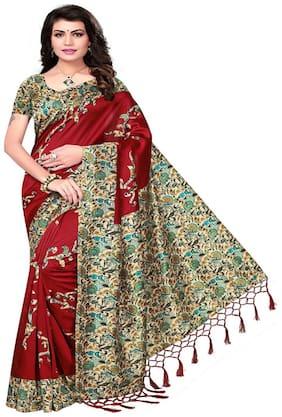 Ticknmart Women's Maron Mysore Art Silk Kalamkari Printed Partywear Saree with Unstitch Blouse