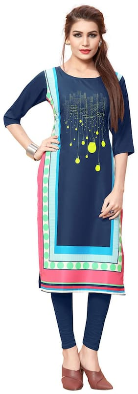 Ticknmart Women's New Arrival Latest Blue Digital Printed Officewear Full Stitched Kurti
