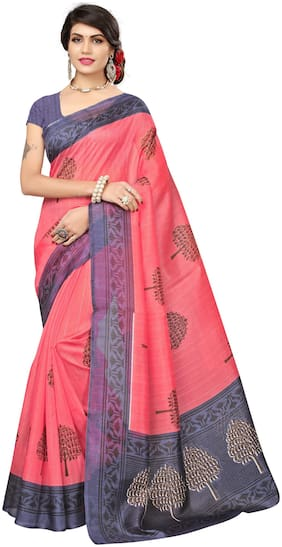 TICKNMART Cotton Bhagalpuri Embroidered work Saree - Pink , With blouse