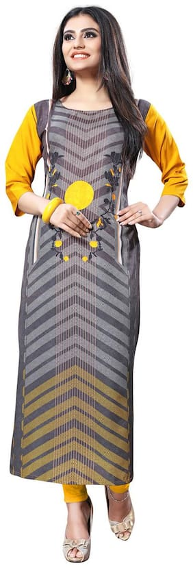 TICKNMART Women Crepe Printed Straight Kurti - Multi
