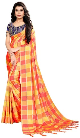 Ticknmart Women New Arrival Latest Multi Heavy Silk Box Print Partywear Saree with Unstitch Blouse