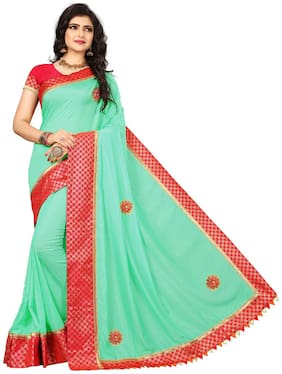 TICKNMART Silk Universal Embroidered work Saree - Green , With blouse