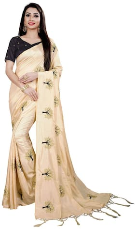 TICKNMART Silk Universal Embroidered work Saree - Beige , With blouse