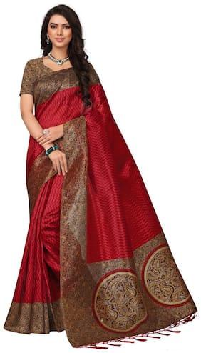 Ticknmart Women's Red Mysore Art Silk Kalamkari Printed Partywear Saree with Unstitch Blouse