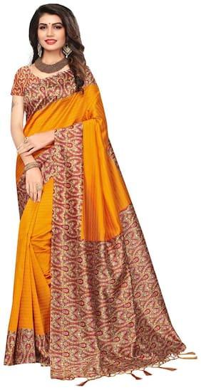 Ticknmart Women's Yellow Mysore Art Silk Kalamkari Printed Partywear Saree with Unstitch Blouse
