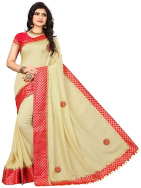TICKNMART Silk Universal Embroidered work Saree - Yellow , With blouse