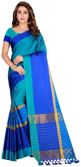 Ticknmart Women New Arrival Latest Blue Cotton Silk Striped Partywear Saree with Unstitch Blouse