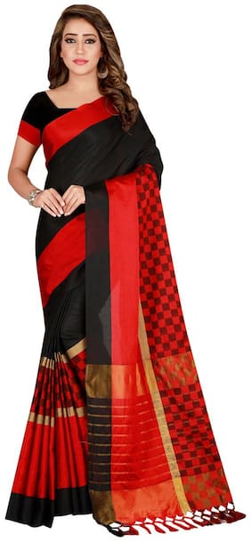 Ticknmart Women New Arrival Latest Black Cotton Silk Striped Partywear Saree with Unstitch Blouse