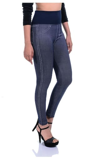 Strachable Pack Printed Denim Skinny 2 Timbre Jeggings Lycra High Waist Of Fit Combo 4fvw4YqH