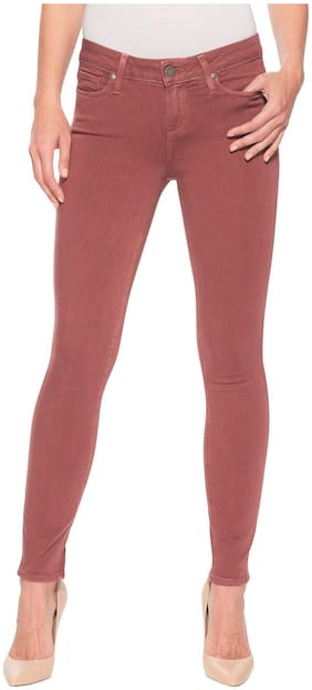Timbre Women Skinny Fit High Rise Solid Jeans - Red