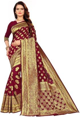 Tina Fashion Maroon Striped Banarasi Designer Saree With Blouse , With blouse