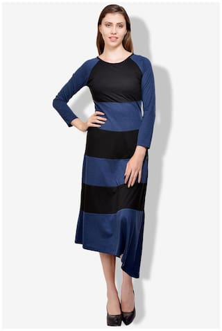Cotton Tisoro Blue Dress Black And Jersey wn8z0q