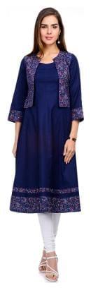 Tissu Women Rayon Printed A line Kurta - Blue
