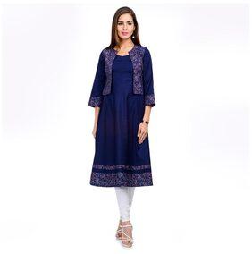 Tissu Women Rayon Printed Straight Kurta - Blue