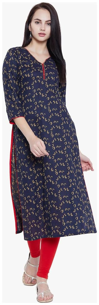 Tissu Women Blue Printed Straight Kurta
