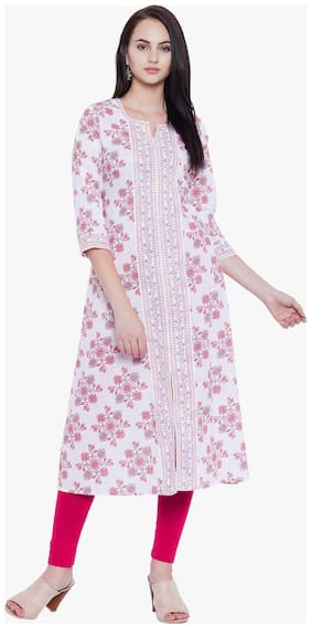 Tissu Women's Floral Printed A-Line Kurta With Front Slit