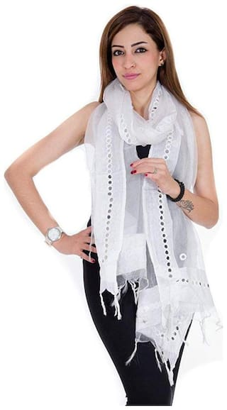 Tissue dupatta with mirror work