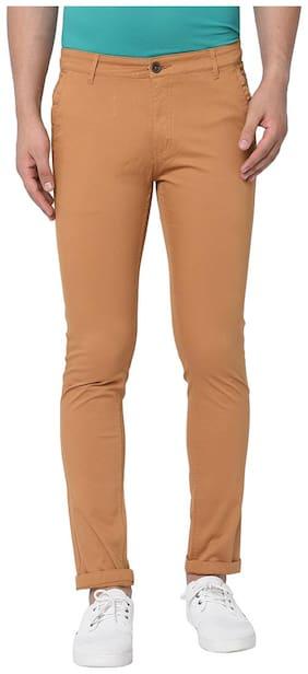 TNG Men Brown Textured Slim fit Regular trousers