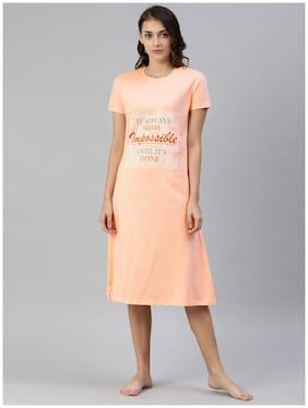 Todd N Teen Hosiery Peach Printed T-Shirt Nighty  For Women