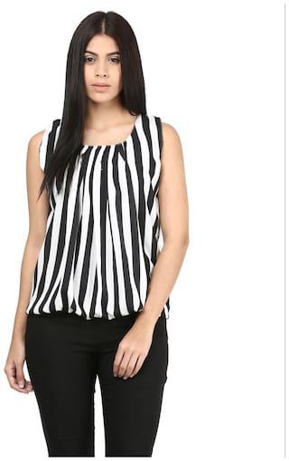 Mayra Women Striped Regular top - White
