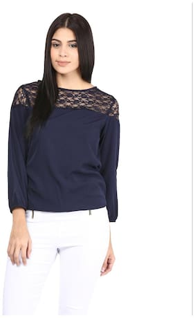 Mayra Women Solid Regular top - Blue