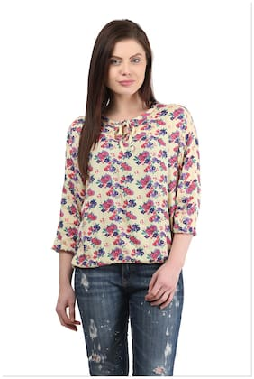 Mayra Women Printed Regular top - Beige