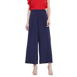Toshee Women's Navy Blue Color Plain Palazzos