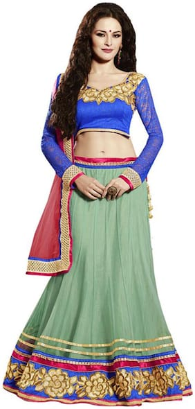 Touch Trend Green Color Net Lehenga Choli With Dupatta