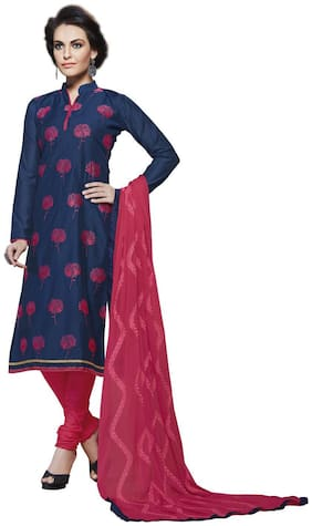 Touch Trends Navy Blue Chanderi Dress Material