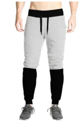TRY THIS Men Cotton Blend Track Pants - Grey