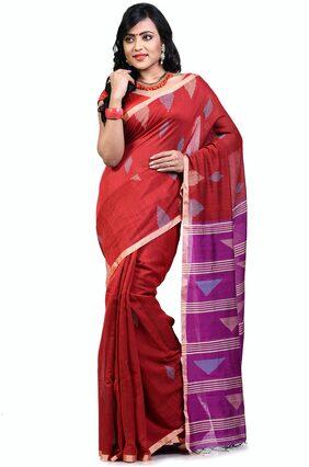 Bengal Handloom Cotton Tant Applique Work Saree - Red