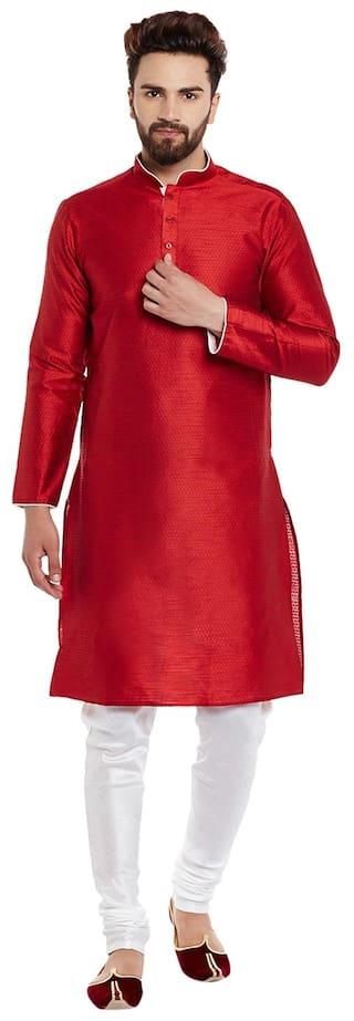 Larwa Men Regular Fit Silk Full Sleeves Solid Kurta Pyjama - Red