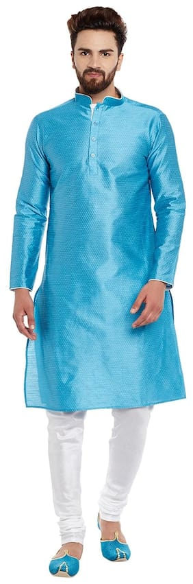 Larwa Men Regular Fit Silk Full Sleeves Solid Kurta Pyjama - Blue