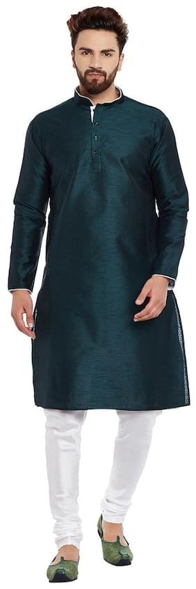 Larwa Men Regular Fit Silk Full Sleeves Solid Kurta Pyjama - Green
