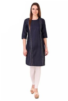 5107d8f3060138 TRASS Denim Round Neck Three Quarter Sleeves Knee Length Shirt Style Kurti