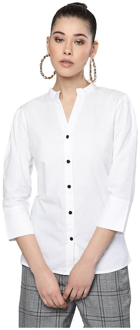 Trend Arrest Women White Solid Regular Fit Shirt
