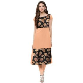 Trend Factory Peach Colored Cap Sleeve And Boat Neck Kurti