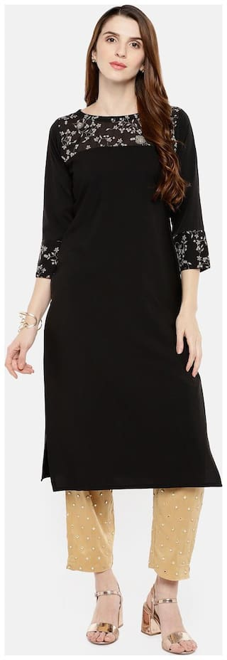 Trend Factory Women Black Printed Straight Kurta